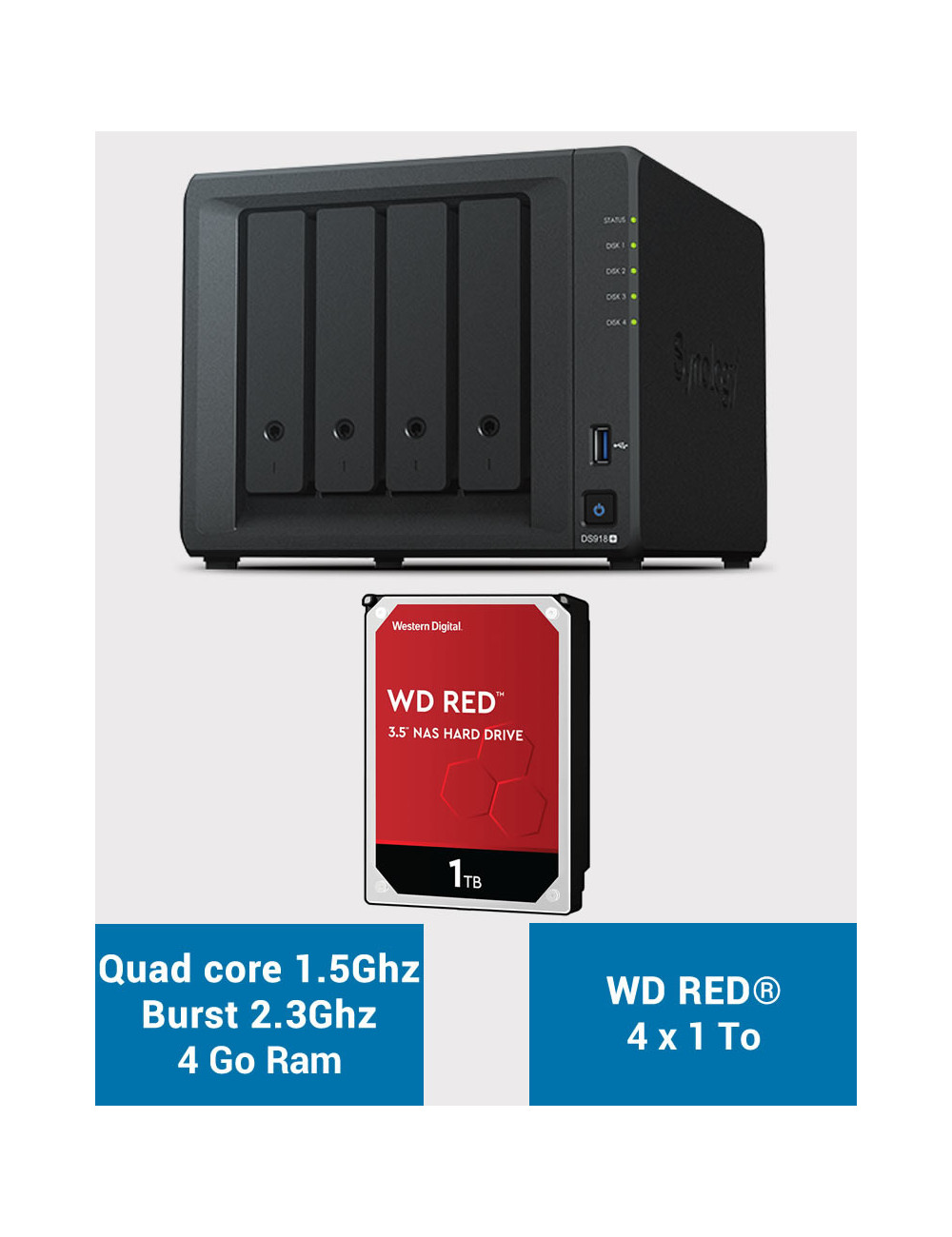 Synology DS918+ NAS Server WD RED 4TB (4x1TB)