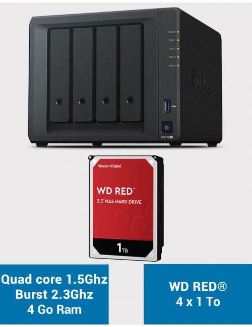 Synology DS918+ Serveur NAS WD RED 4To (4x1To)