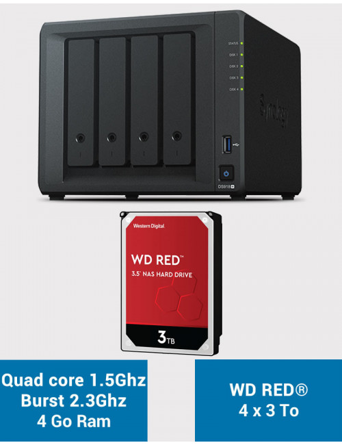 Synology DS918+ Serveur NAS WD RED 12To (4x3To)