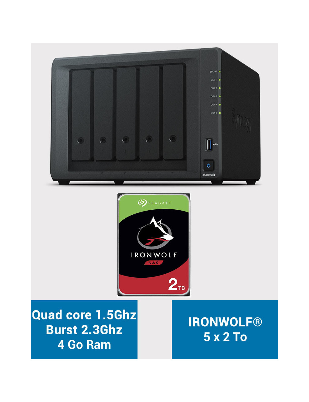 Synology DS1019+ Serveur NAS IRONWOLF 10To (5x2To)
