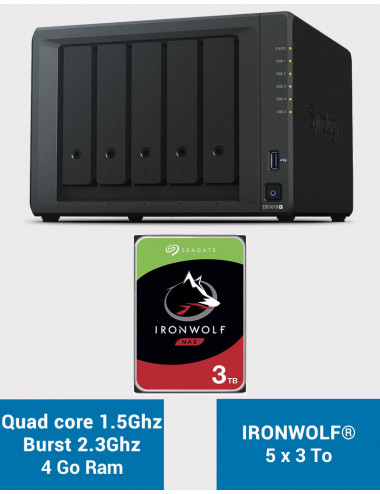 Synology DS1019+ Serveur NAS IRONWOLF 15To (5x3To)