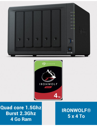 Synology DS1019+ Serveur NAS IRONWOLF 20To (5x4To)