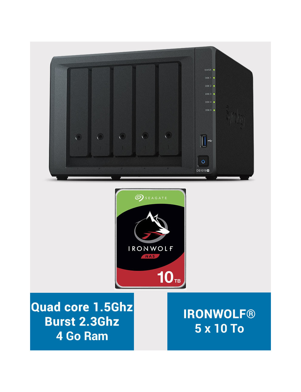 Synology DS1019+ Serveur NAS IRONWOLF 50To (5x10To)