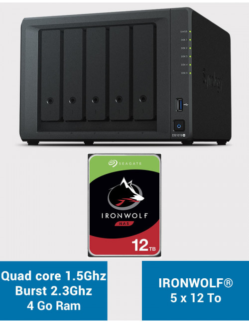 Synology DS1019+ Serveur NAS IRONWOLF 60To (5x12To)