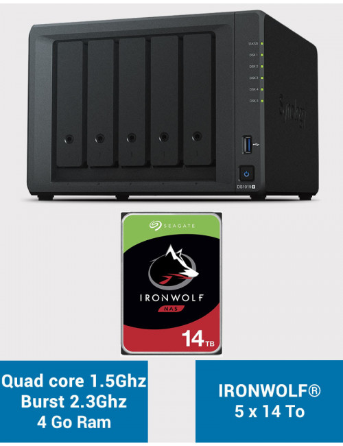 Synology DS1019+ Serveur NAS IRONWOLF 70To (5x14To)
