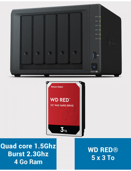 Synology DS1019+ NAS Server WD RED 15TB (5x3TB)