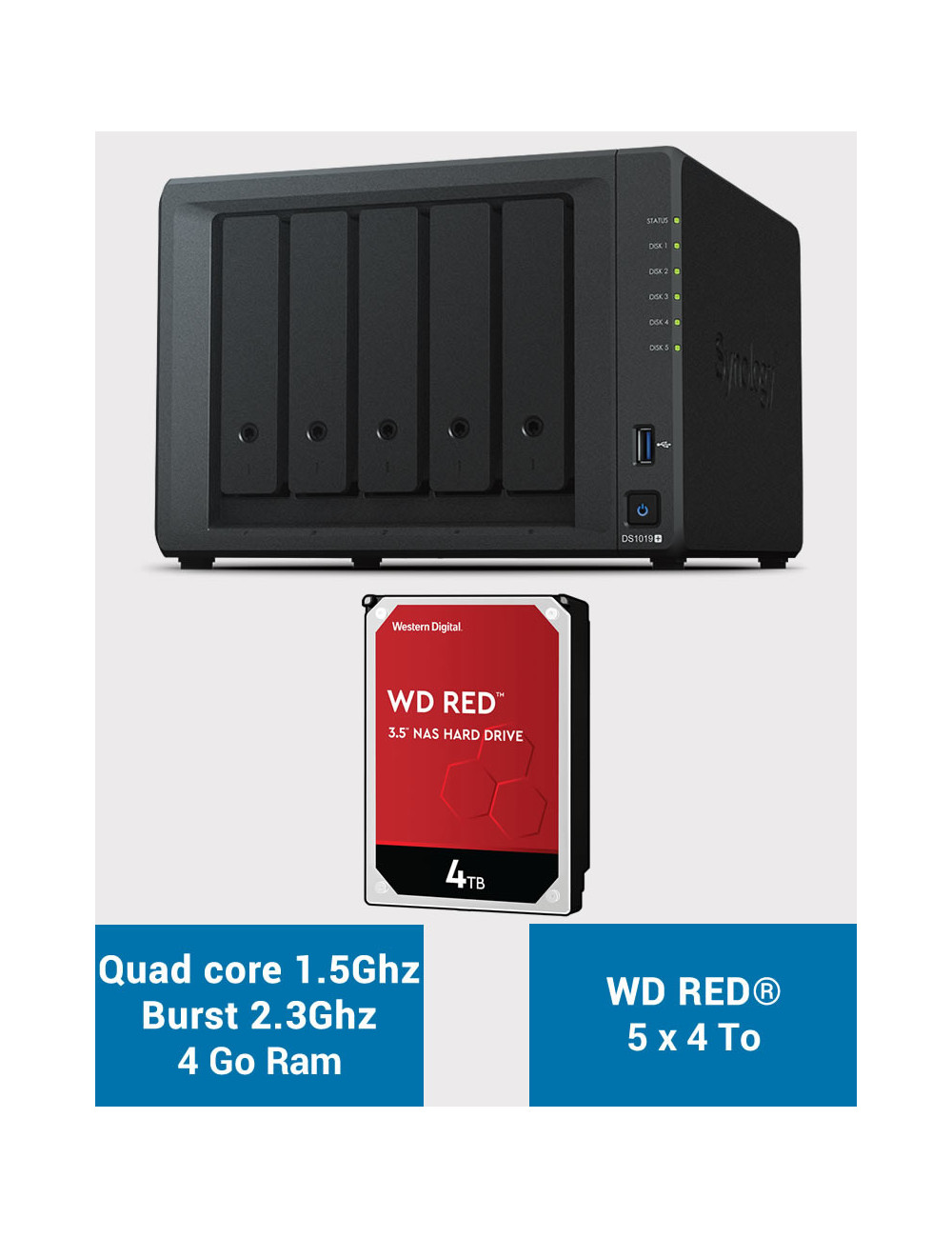 Synology DS1019+ NAS Server WD RED 20TB (5x4TB)