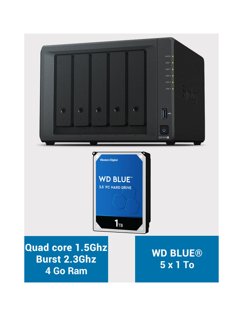 Synology DS1019+ NAS Server WD BLUE 5TB (5x1TB)