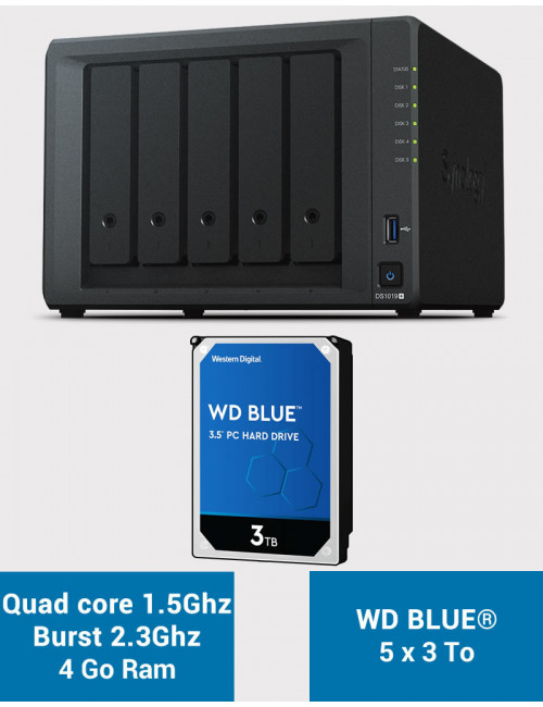 Synology DS1019+ Serveur NAS WD BLUE 15To (5x3To)