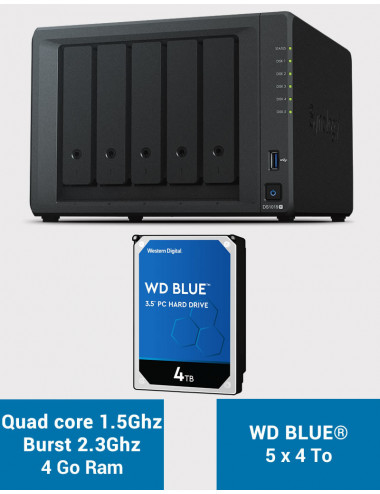 Synology DS1019+ NAS Server WD BLUE 20TB (5x4TB)