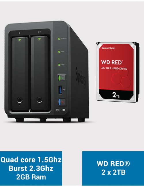 Synology DS718+ NAS Server WD RED 4TB (2x2TB)