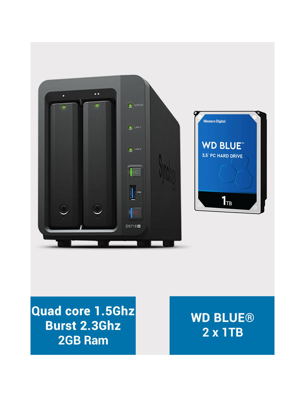 Synology DS718+ Serveur NAS WD BLUE 2To (2x1To)