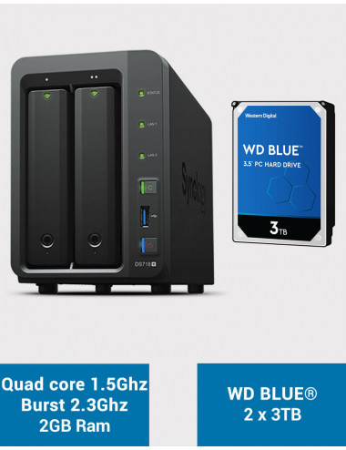 Synology DS718+ Serveur NAS WD BLUE 6To (2x3To)