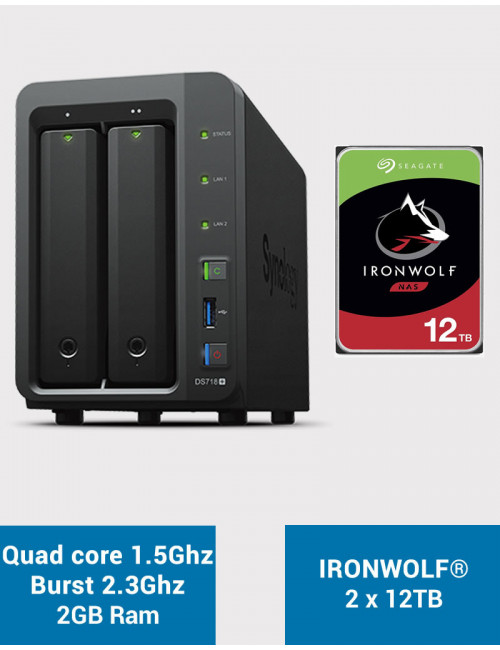 Synology DS718+ NAS Server IRONWOLF 24TB (2x12TB)