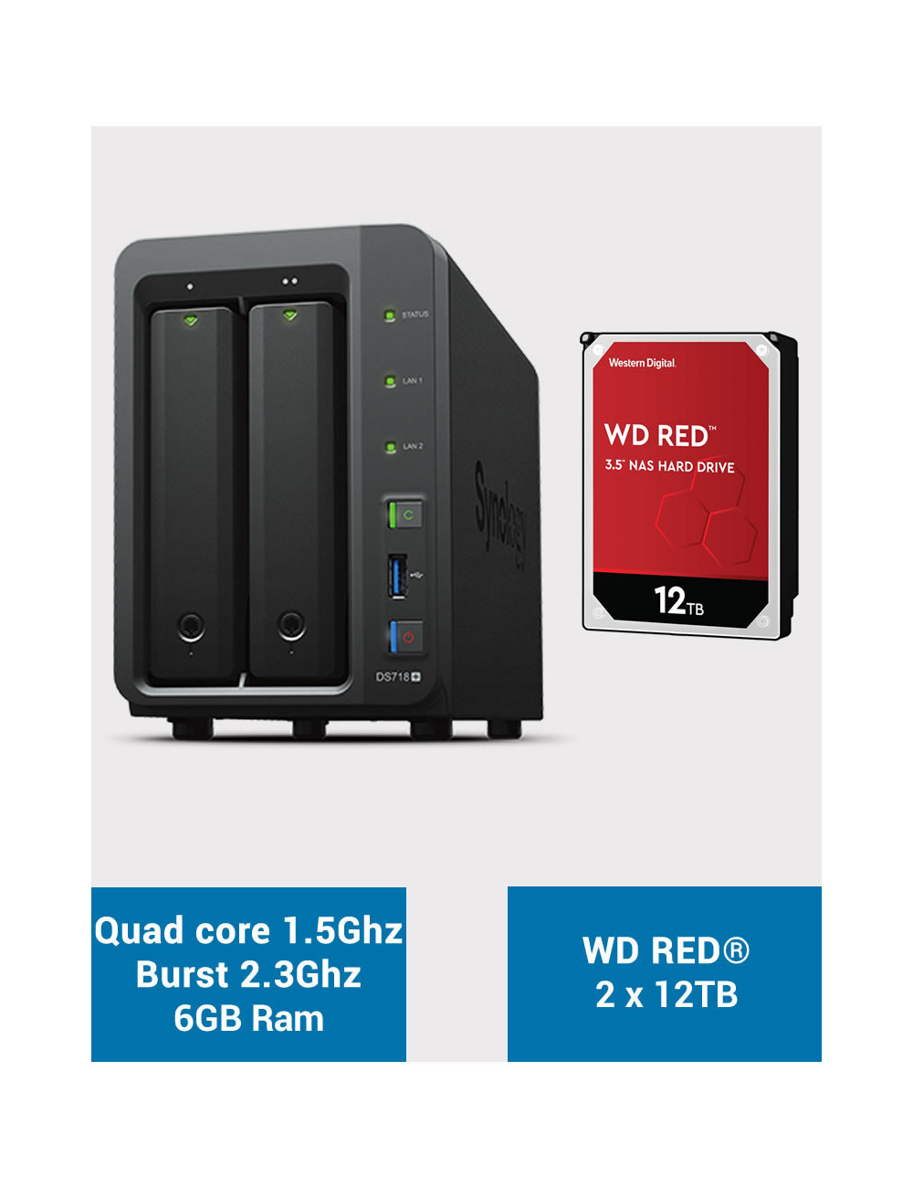 Synology DS718+ 6GB Serveur NAS WD RED 24To (2x12To)