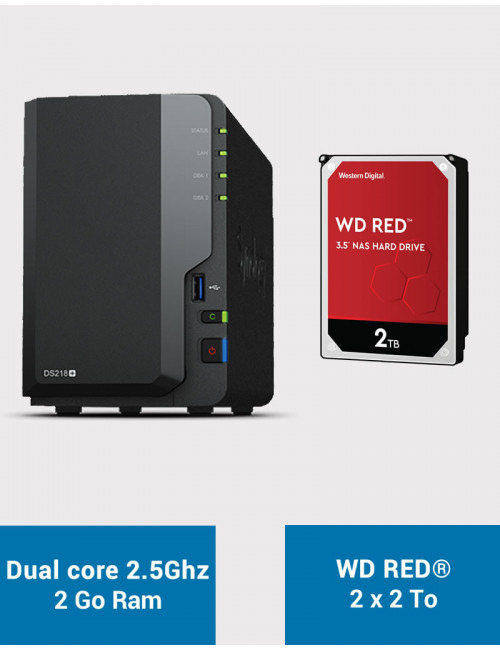 Synology DS218+ Serveur NAS WD RED 4To (2x2To)