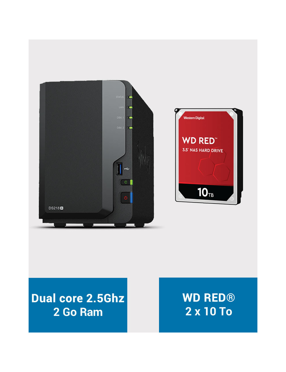 Synology DS218+ NAS Server WD RED 20To (2x10To)