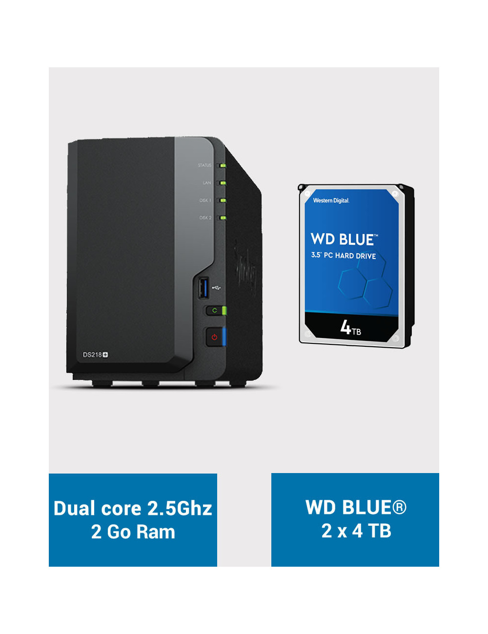 Synology DS218+ Serveur NAS WD BLUE 8To (2x4To)