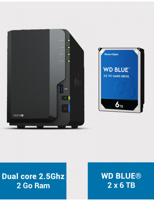 Synology DS218+ Serveur NAS WD BLUE 12To (2x6To)