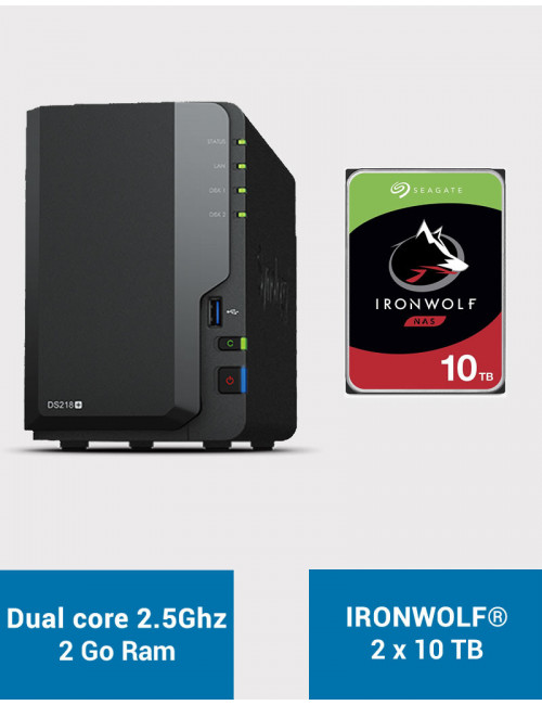 Synology DS218+ Serveur NAS IRONWOLF 20To (2x10To)