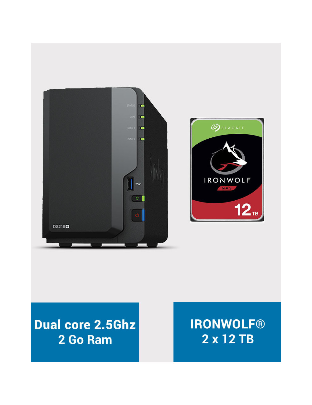Synology DS218+ Serveur NAS IRONWOLF 24To (2x12To)