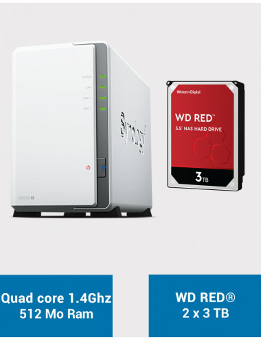 Synology DS220J NAS Server WD RED 6TB (2x3TB)