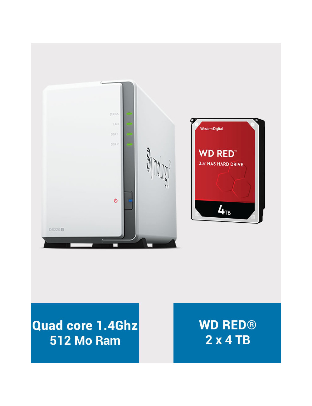 Synology DS220J NAS Server WD RED 8TB (2x4TB)