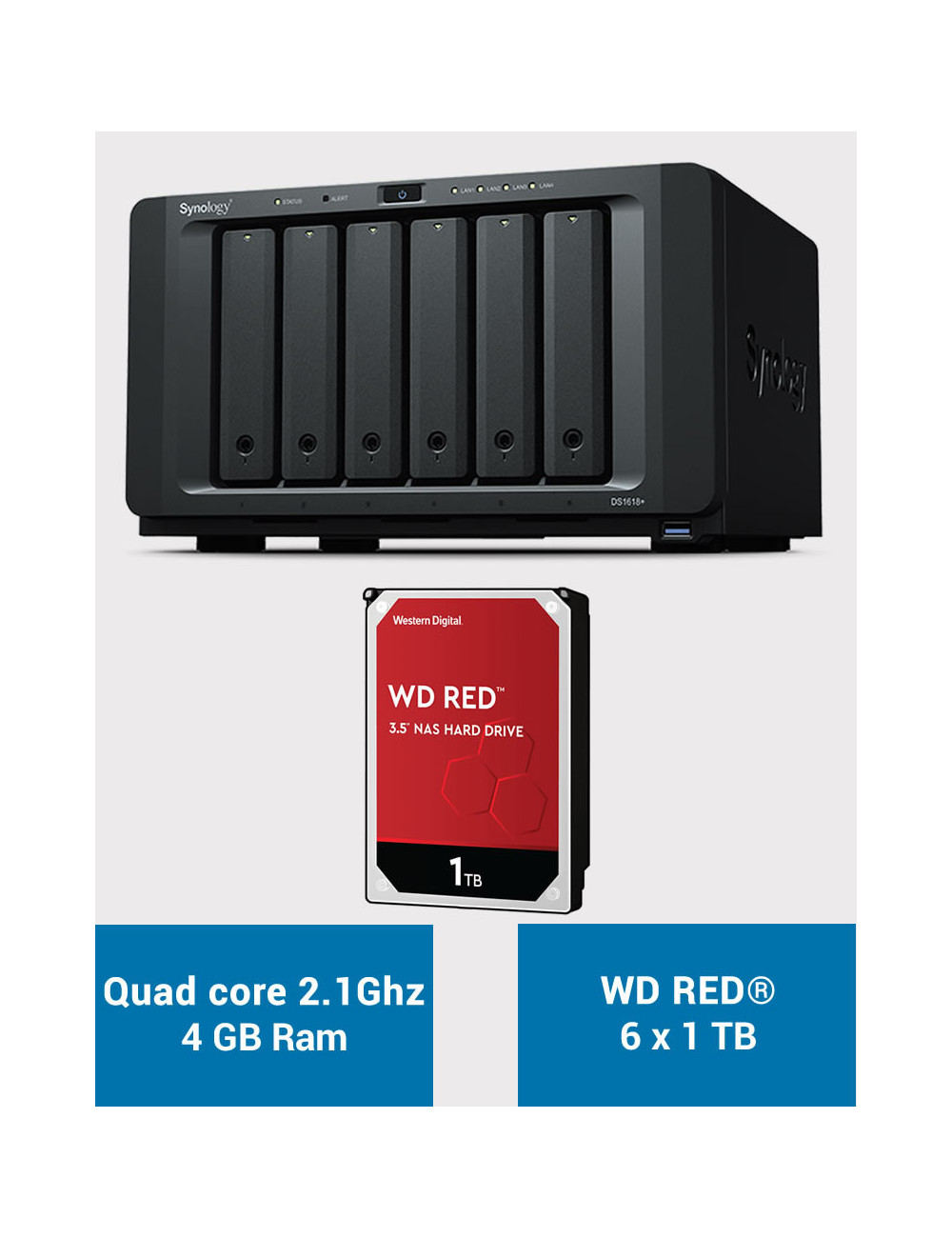 Synology DS1618+ Serveur NAS WD RED 6 To