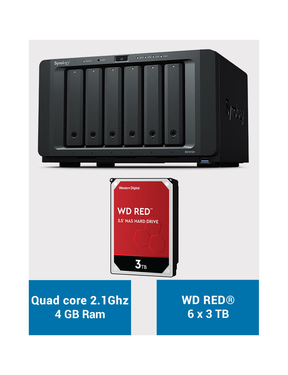 Synology DS1618+ Serveur NAS WD RED 18 To