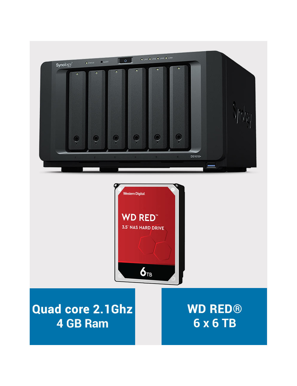 Synology DS1618+ Serveur NAS WD RED 36 To