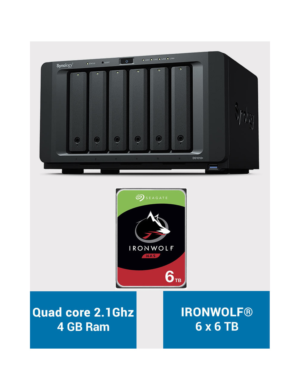 Synology DS1618+ Serveur NAS IRONWOLF 36 To