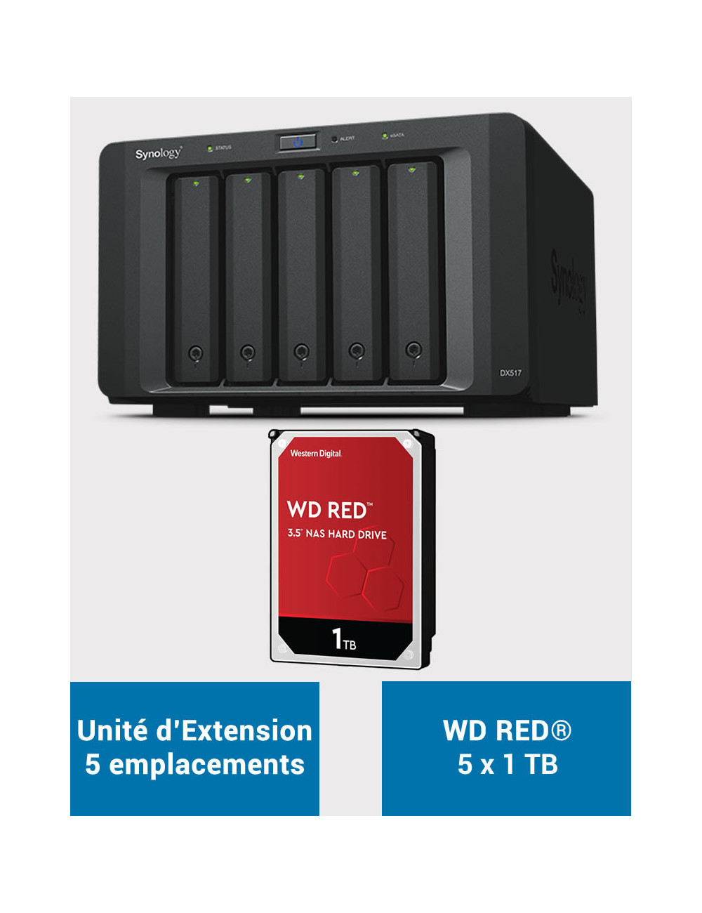 Synology DX517 Unité d'extension WD RED 5To (5x1To)