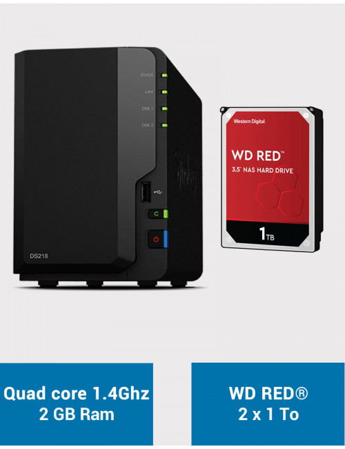 Synology DS218 Serveur NAS WD RED 2To (2x1To)