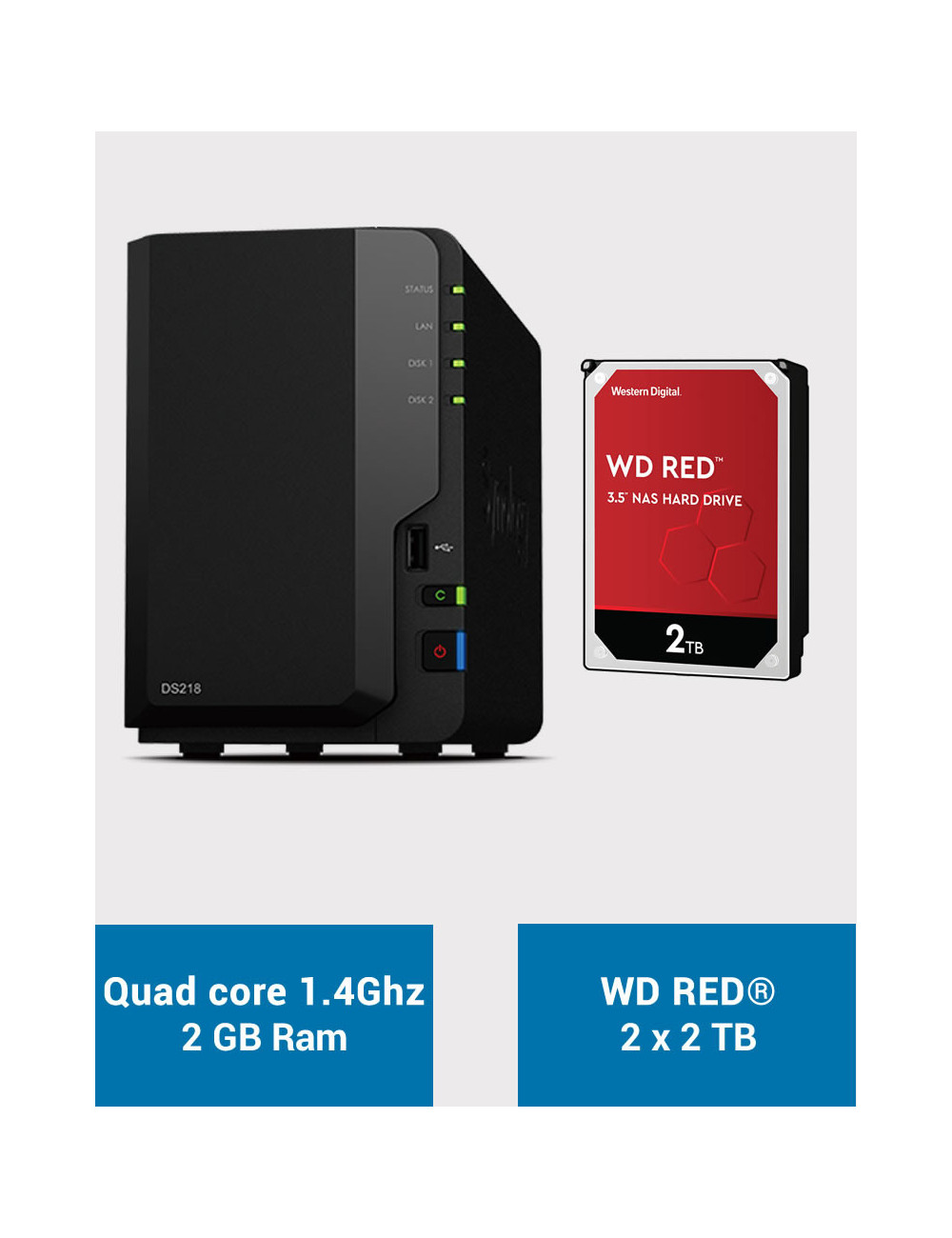 Synology DS218 NAS Server WD RED 4TB (2x2TB)