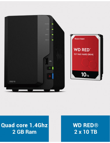 Synology DS218 NAS Server WD RED 20TB (2x10TB)