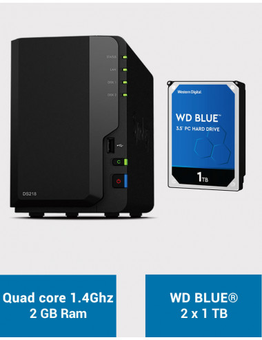 Synology DS218 Serveur NAS WD BLUE 2To (2x1To)
