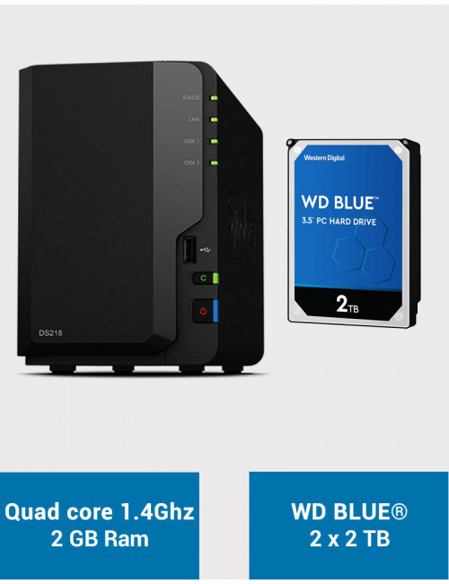 Synology DS218 Serveur NAS WD BLUE 4To (2x2To)