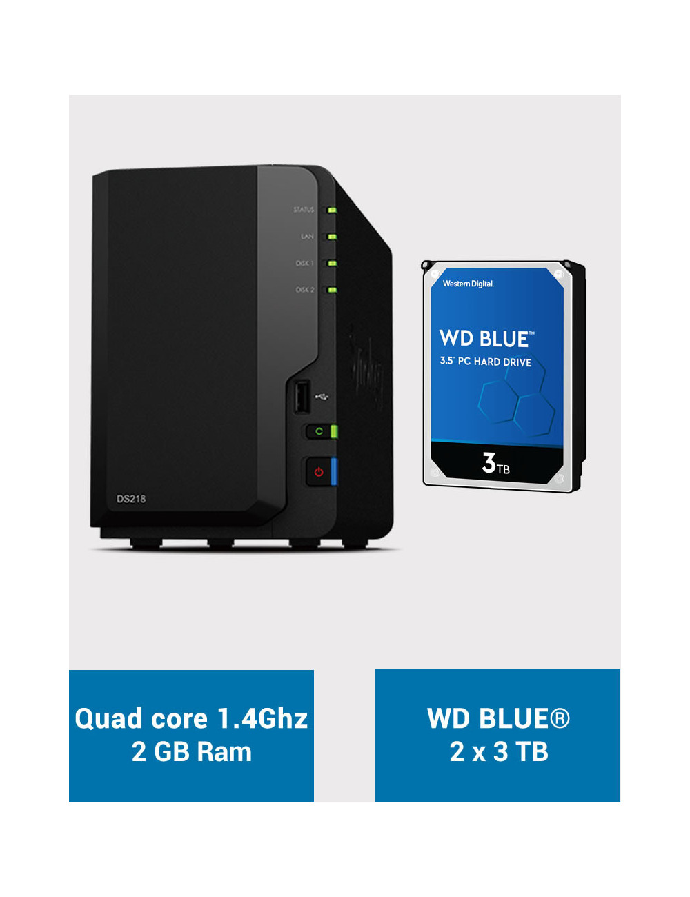 Synology DS218 Serveur NAS WD BLUE 6To (2x3To)