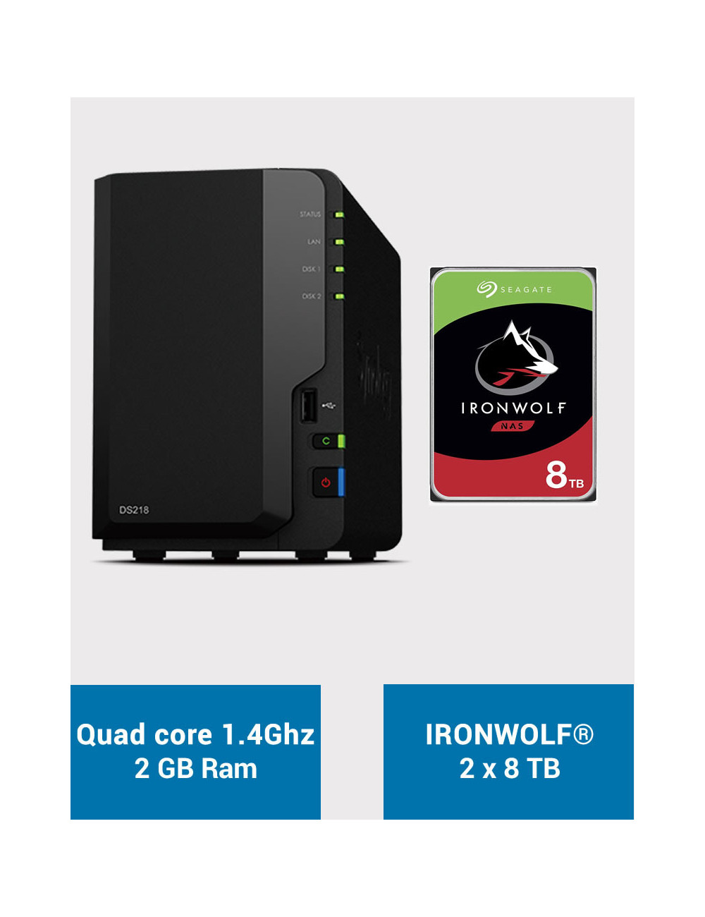 Synology DS218 Serveur NAS IRONWOLF 16To (2x8To)