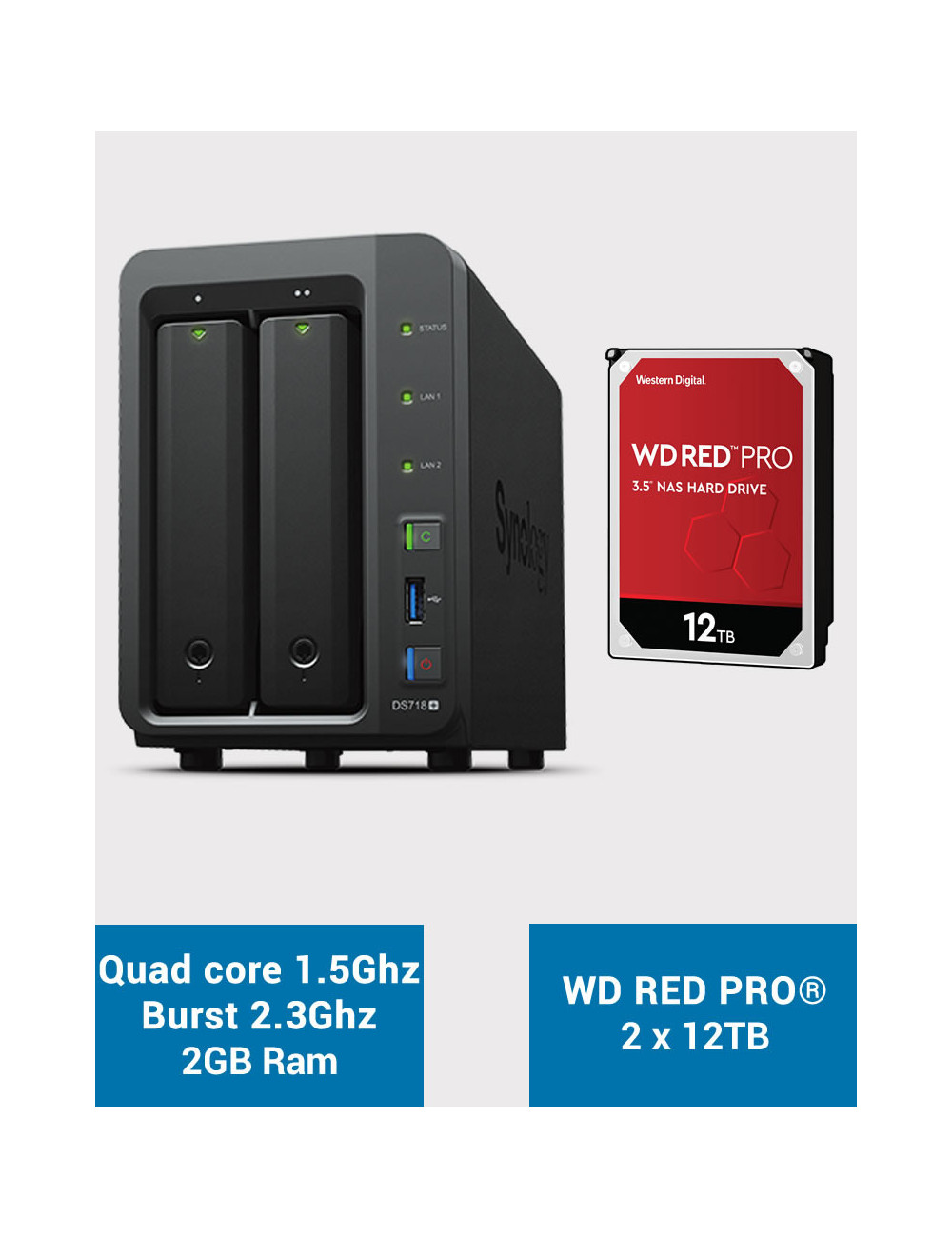 Synology DS718+ Serveur NAS WD RED PRO 24To (2x12To)