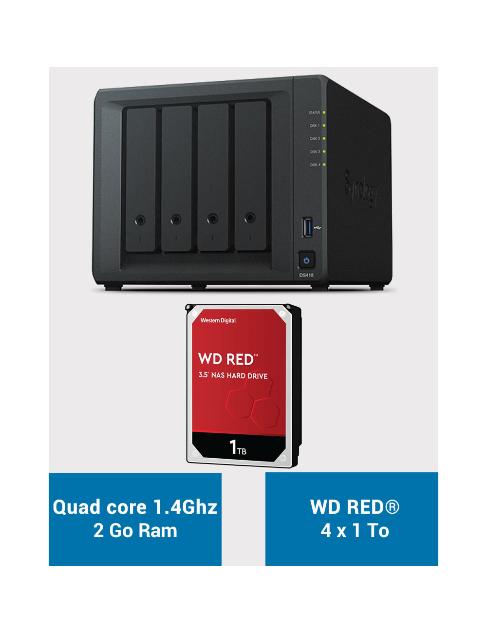 Synology DS418 NAS Server WD RED 4TB (4x1TB)