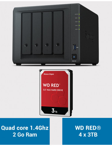 Synology DS418 Serveur NAS WD RED 12To (4x3To)
