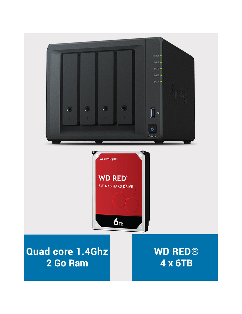 Synology DS418 NAS Server WD RED 24TB (4x6TB)