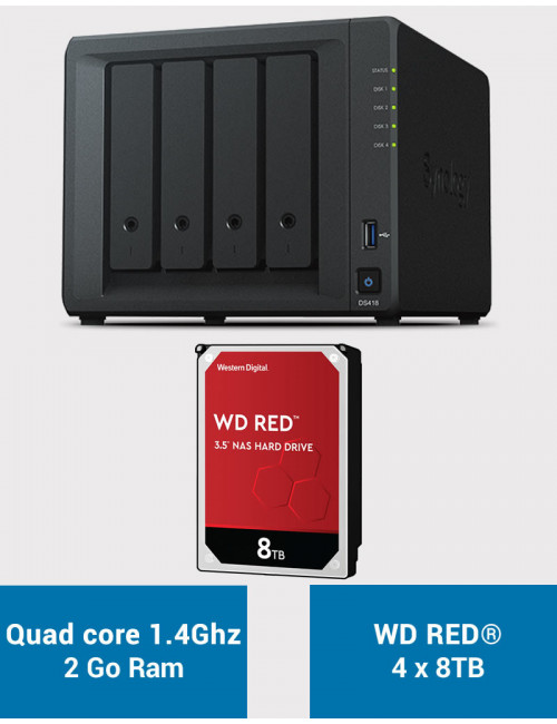 Synology DS418 NAS Server WD RED 32TB (4x8TB)
