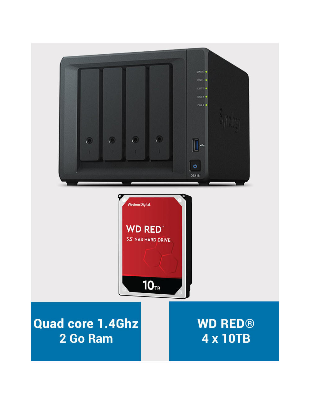 Synology DS418 Serveur NAS WD RED 40To (4x10To)