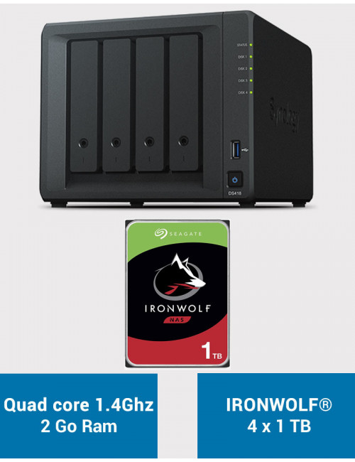 Synology DS418 Serveur NAS IRONWOLF 4To (4x1To)