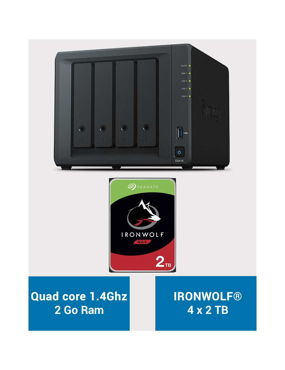 Synology DS418 Serveur NAS IRONWOLF 8To (4x2To)