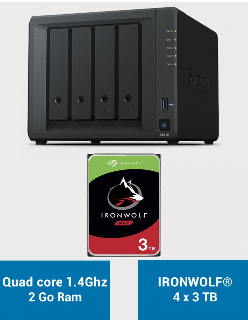Synology DS418 Serveur NAS IRONWOLF 12To (4x3To)