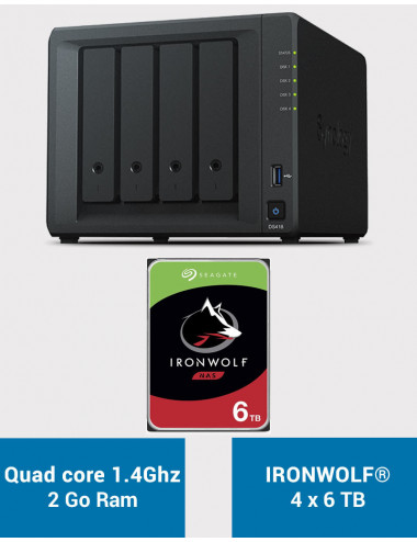Synology DS418 Serveur NAS IRONWOLF 24To (4x6To)