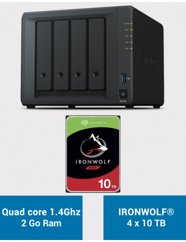 Synology DS418 Serveur NAS IRONWOLF 40To (4x10To)